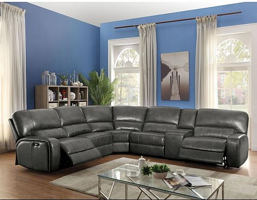 Saul Reclining Sectional in Gray