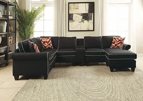 Kelliava Sectional Sofa with Chaise in Black