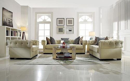 Eulalia Living Room Set in Cream