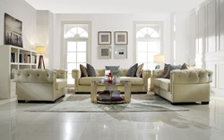 Eulalia Living Room Set in Cream