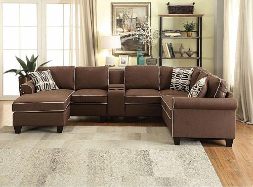 Kelliava Sectional Sofa with Chaise in Chocolate