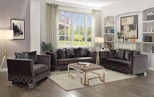 Tamara Formal Living Room Set in Charcoal Velvet