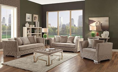 Tamara Formal Living Room Set in Beige Velvet