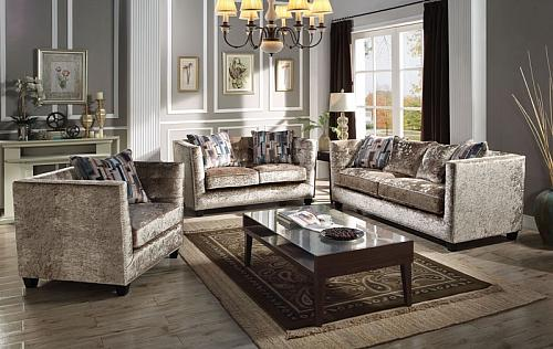 Juliana Living Room Set in Gold/ Mocha