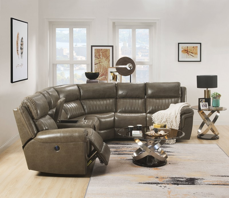 Lonna Reclining Sectional in Taupe