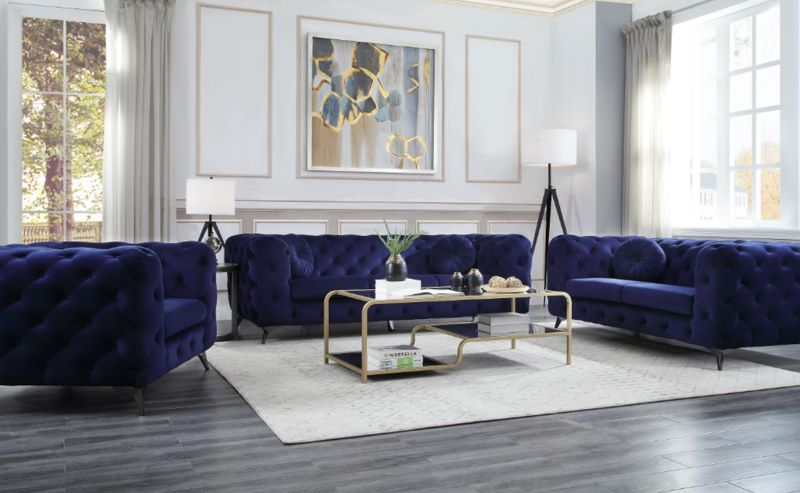 Atronia Living Room Set in Blue