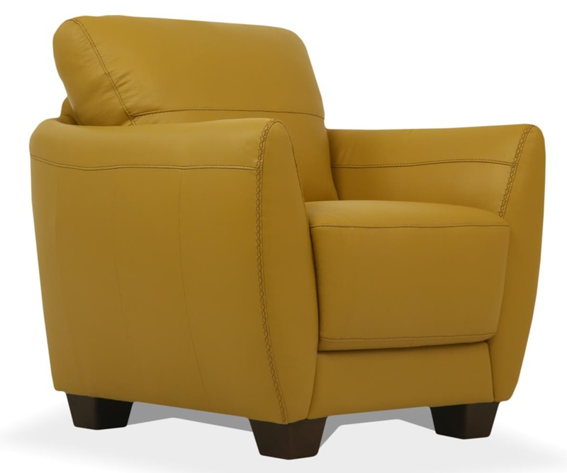 Valeria Leather Living Room Set in Mustard