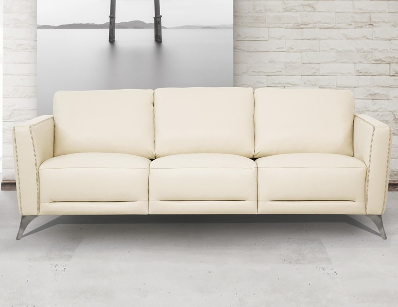 55005 Malaga Cream Leather Sofa Set | Acme | Free Delivery