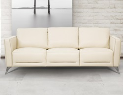 Malaga Leather Living Room Set in Cream