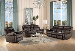 Zubaida Reclining Living Room Set in Chocolate