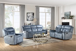 Mariana Reclining Living Room Set in Blue