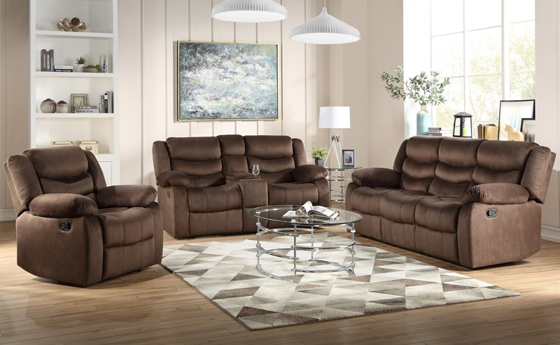 55045 Angelina Dark Brown Reclining Sofa Set | Acme | Free Delivery