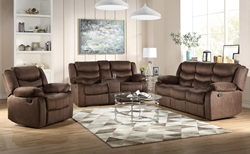 Angelina Reclining Living Room Set in Dark Brown