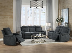 Elijah Reclining Living Room Set in Slate