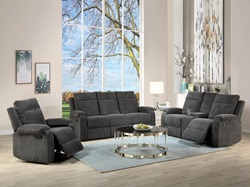 Elijah Reclining Living Room Set in Charcoal
