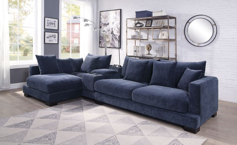 Elika Sectional Sofa in Striking Blue