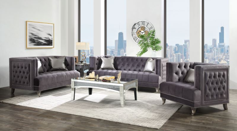 Hegio Living Room Set in Gray Velvet