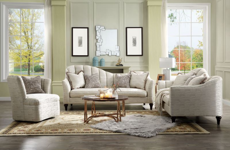 Athalia Living Room Set in Shimmering Pearl