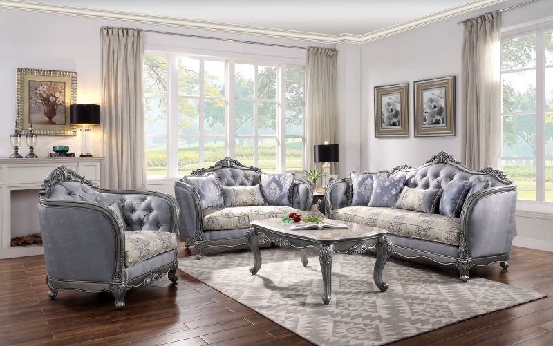 Ariadne Formal Living Room Set in Platinum