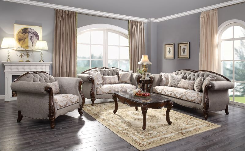 Miyeon Formal Living Room Set in Cherry