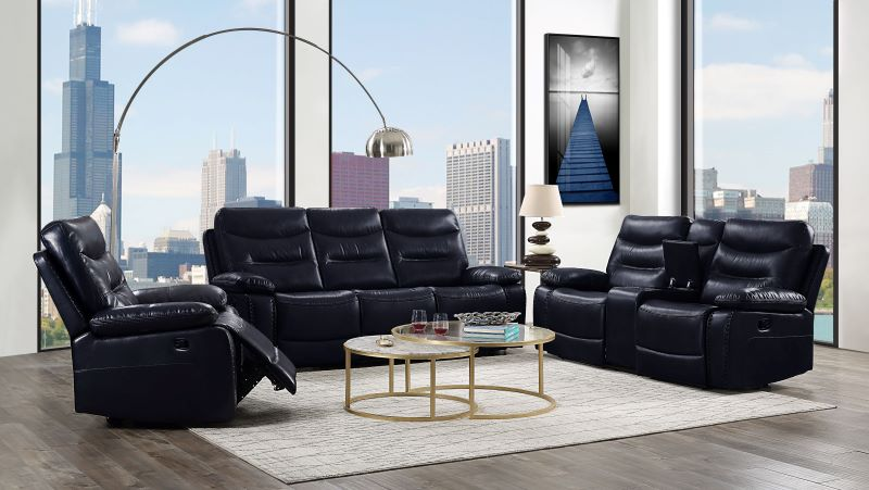 Aashi Reclining Power Motion Living Room Set in Navy