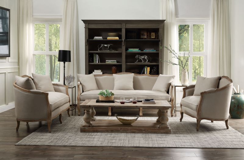 Ruby Formal Living Room Set in Sand Linen