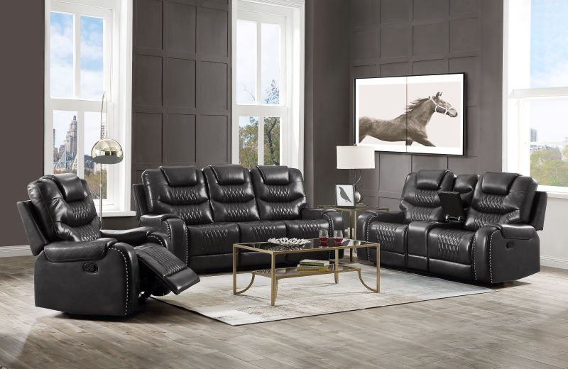 Braylon Reclining Motion Living Room Set in Dark Gray