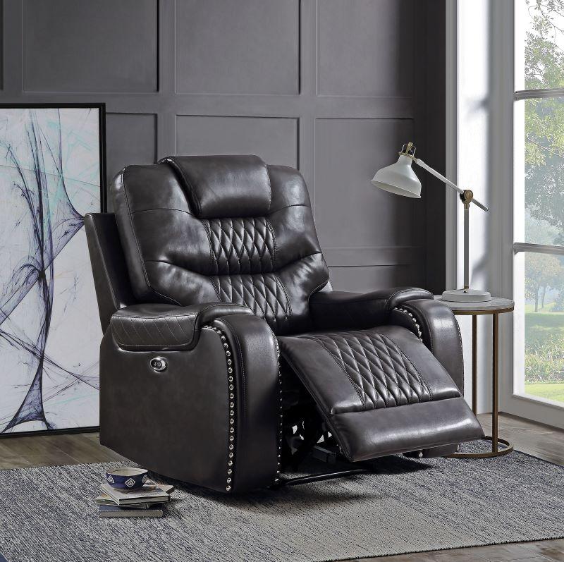 Braylon Reclining Motion Living Room Set in Dark Gray