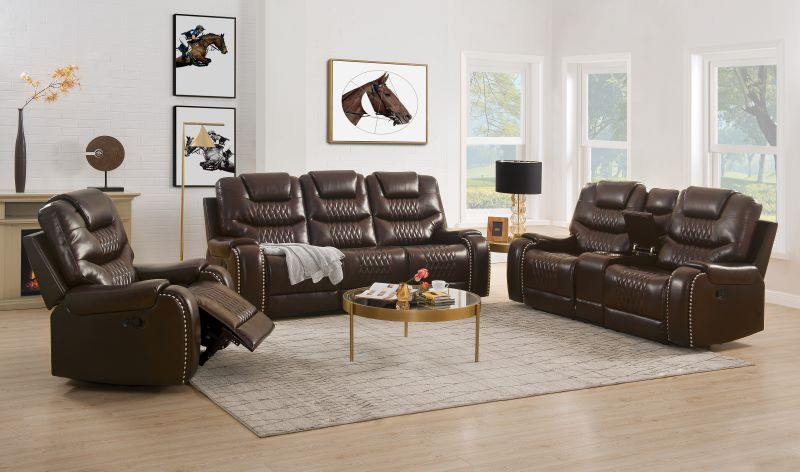 Braylon Reclining Power Motion Living Room Set in Brown
