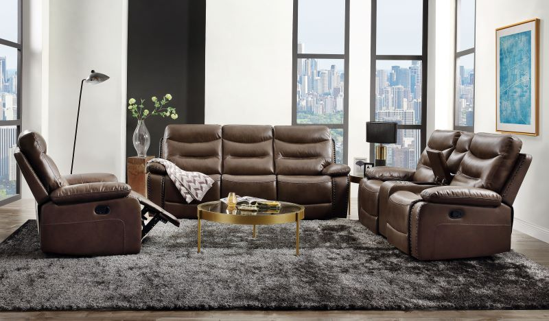 Aashi Reclining Power Motion Living Room Set in Brown