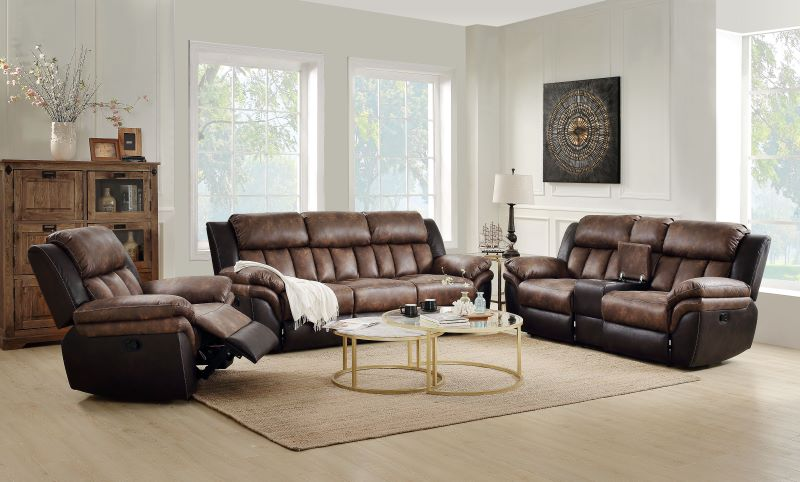 Jaylen Reclining Living Room Set in Toffee Espresso