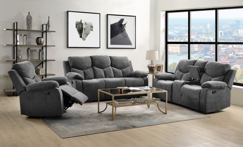 Kalen Reclining Living Room Set in Gray