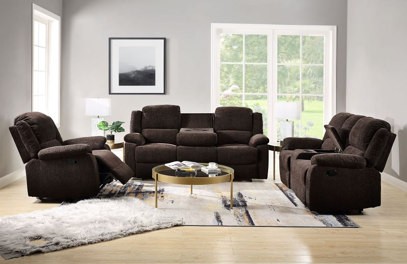 Madden Reclining Living Room Set in Brown