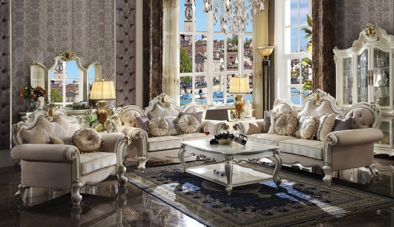 Picardy Formal Living Room Set in Antique Pearl