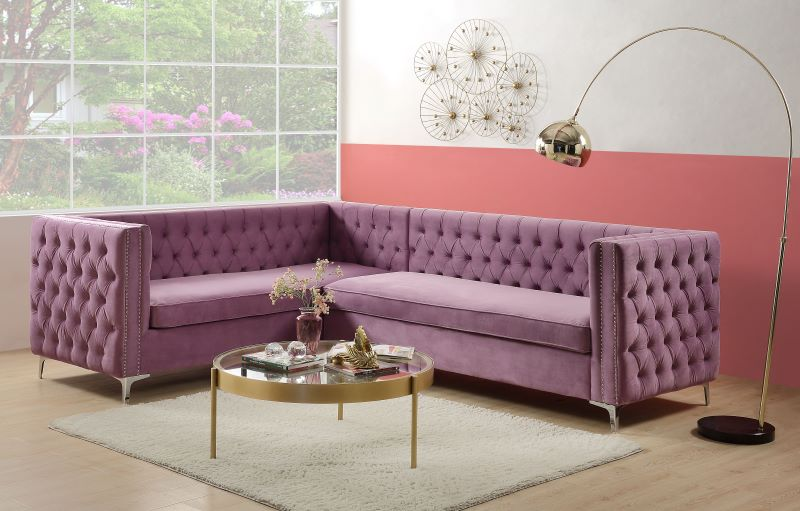 Rhett Sectional Sofa in Purple Velvet