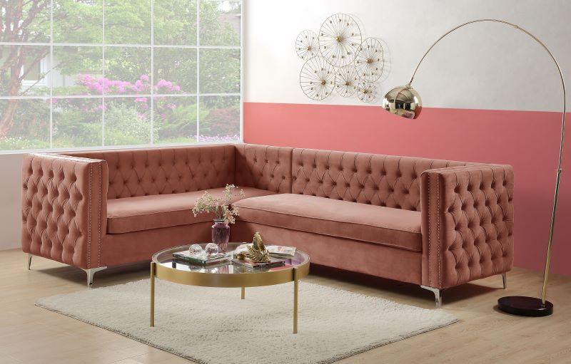 Rhett Sectional Sofa in Dusty Pink Velvet