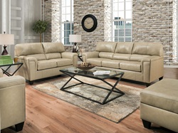 Phygia Leather Living Room Set in Tan