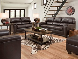 Phygia Leather Living Room Set in Espresso