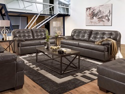 Saturio Leather Living Room Set in Gray
