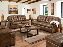 Saturio Leather Living Room Set in Brown