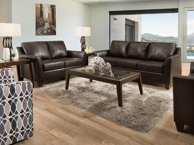 Cocus Leather Living Room Set in Espresso