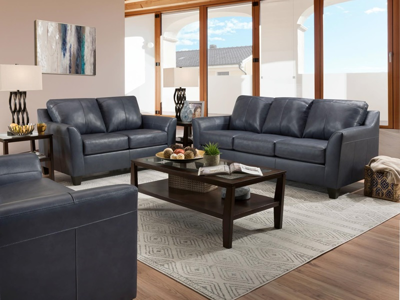 55785 Cocus Blue Leather Sofa Set | Acme | Free Delivery