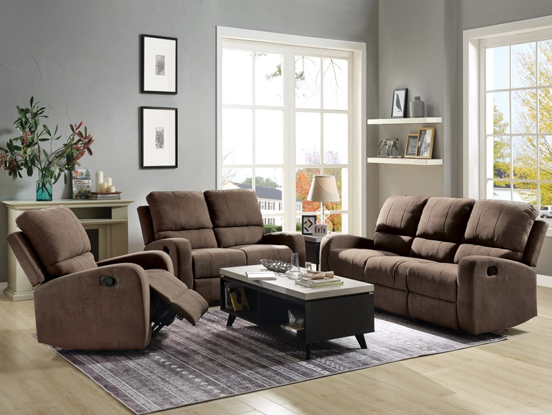 Livino Reclining Living Room Set in Brown