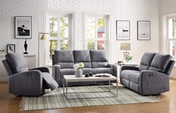 Livino Reclining Living Room Set in Gray