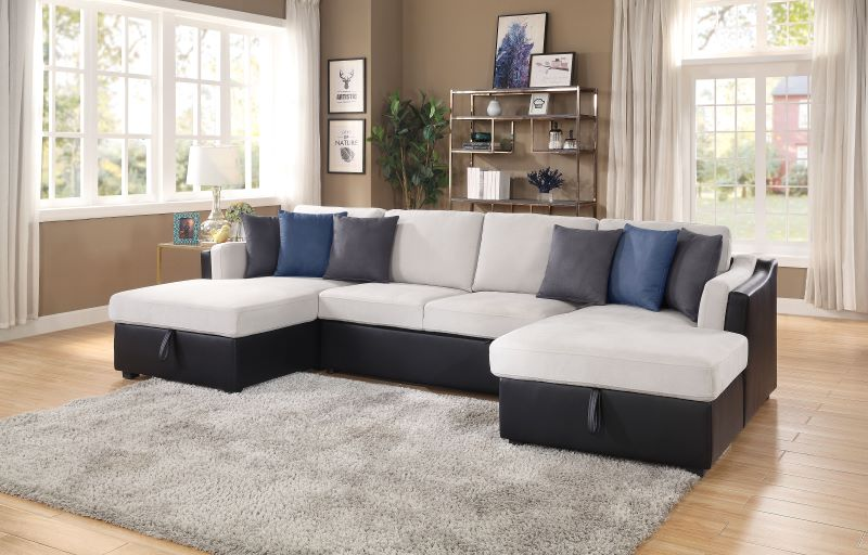 Merill Sectional Sofa Sleeper in Beige and Black