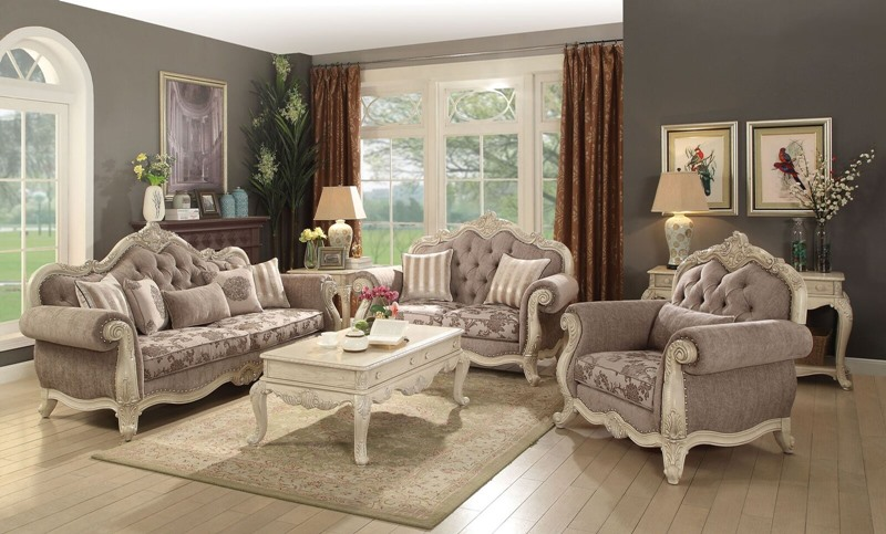 Acme | 56020 Ragenardus Formal Leather Living Room Set in Antique White |  Dallas Designer Furniture