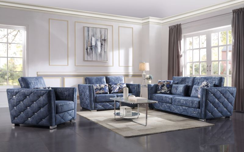 Emilia Living Room Set in 2 Tone Blue