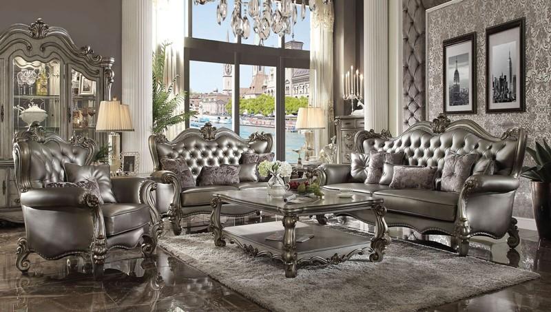extraordinary elegant formal living room sets | Acme | 56820 Versailles Formal Living Room Set in Platinum ...
