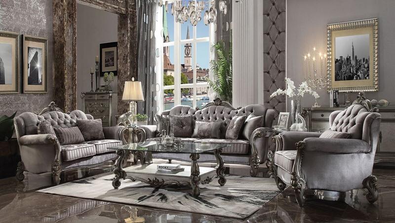 Acme | 56840 Versailles Formal Living Room Set in Silver Velvet | Dallas  Designer Furniture