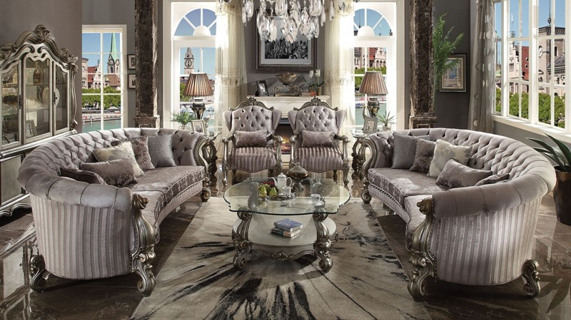 Versailles Crescent Living Room Set in Platinum